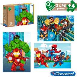 S/3 PUZZLE 3X48 PCS ECO MARVEL HERO